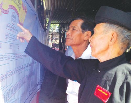 Các bậc cao niên tộc Nguyễn Đức (thị trấn Ái Nghĩa, Đại Lộc) hướng dẫn con cháu về gia phả của dòng họ tổ tiên.                                                              Ảnh: H.DIỄM
