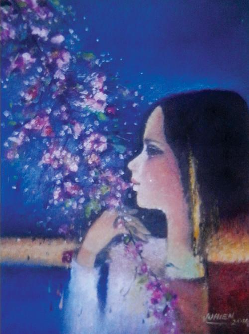 Thiếu nữ.                     Tranh sơn dầu của Vũ Hiền