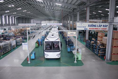Nhà máy Thaco Bus phấn đấu phục vụ mục tiêu xuất khẩu vào năm 2018. Ảnh: D.L