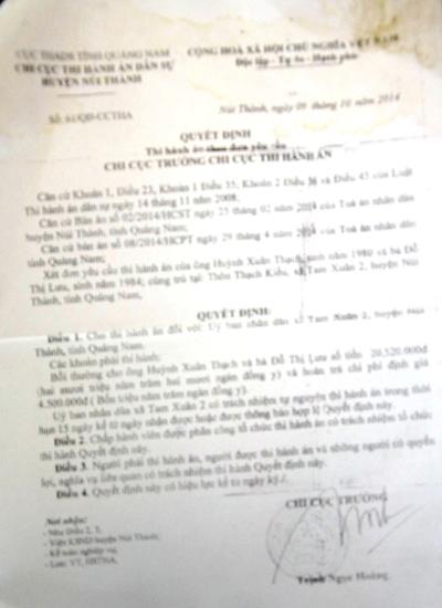Quyết định thi hành án số 61/QĐ-CCTHA của Chi cục THA dân sự huyện Núi Thành. Ảnh: T.H