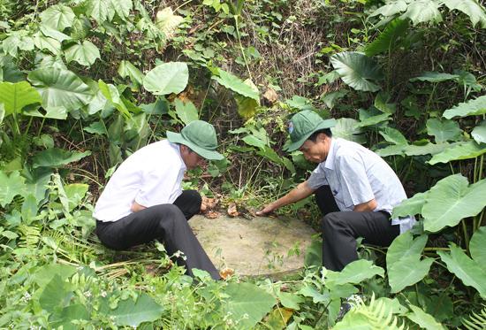 Giếng nước mà cán bộ, bộ đội đào để dùng trong thời chiến vẫn còn được giữ lại trong vườn nhà ông Cao Quốc Tuấn.Ảnh: DIỄM LỆ