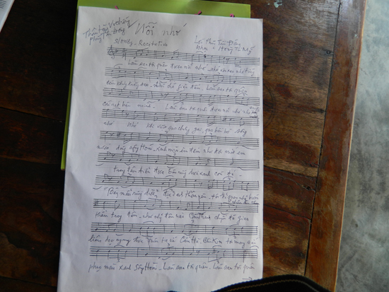 Một bản nhạc của Hoàng Tú Mỹ. Ảnh: P.T.Đ