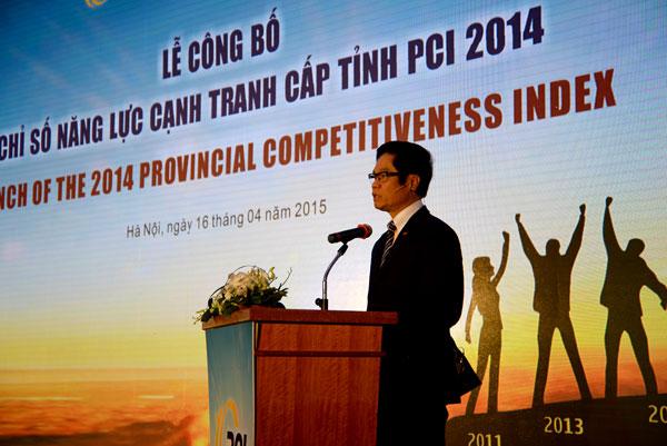 TS Vũ Tiến Lộc - Chủ tịch Phòng Thương mại và Công nghiệp Việt Nam (VCCI) phát biểu khai mạc lễ công bố chỉ số PCI. Nguồn: http://dddn.com.vn