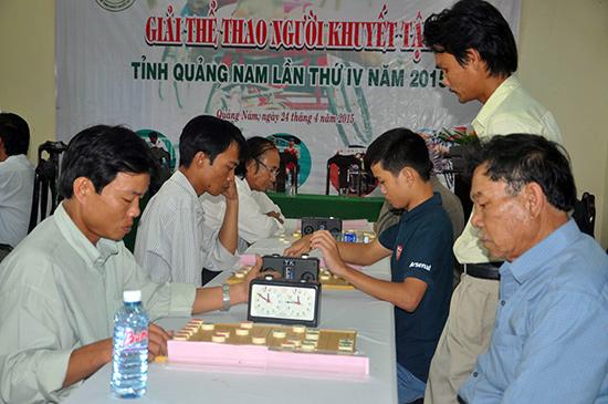 Các vận động viên thi đấu nội dung cờ tướng.