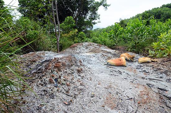 Xái quặng ở Tiên Lập xả vô tội vạ, gây ô nhiễm môi trường.Ảnh: TRẦN HỮU