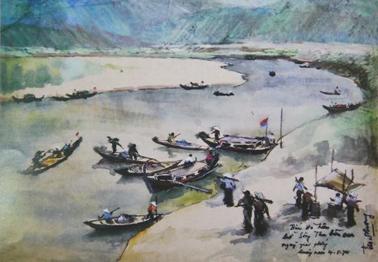 Khung cảnh bình yên ở bến đò Thu Bồn vẽ tháng 10.1974, không lâu sau đó tác giả Hà Xuân Phong đã hy sinh.
