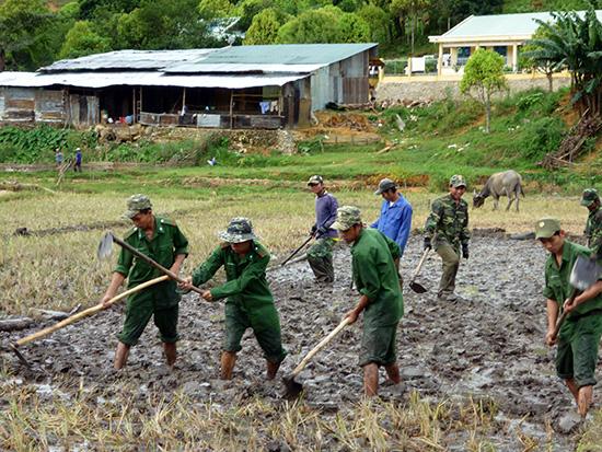 Bộ đội Biên phòng Đồn A Xan giúp nhân dân làm lúa nước.