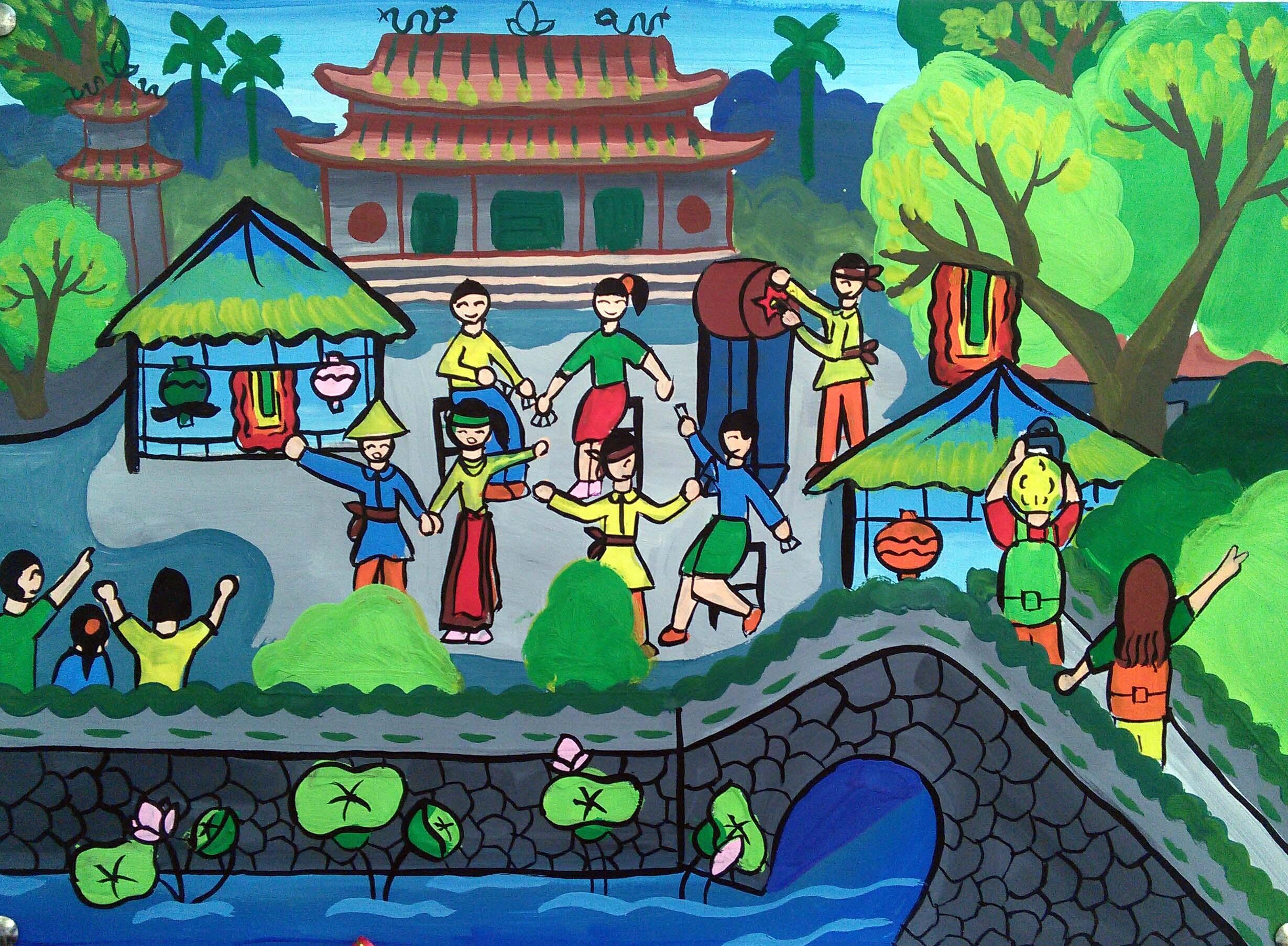 """Tác phẩm """"Khổng Miếu quê tôi ngày lễ hội"""" của em Nguyễn Thị Thanh Nhã."""