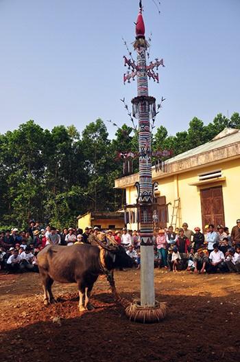 Cor's Neu pole in the buffalo sacrifice festival. Picture: SONG ANH