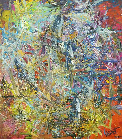 """""""Biển, mùa gió Nam"""" - acrylic của Trần Văn Binh."""