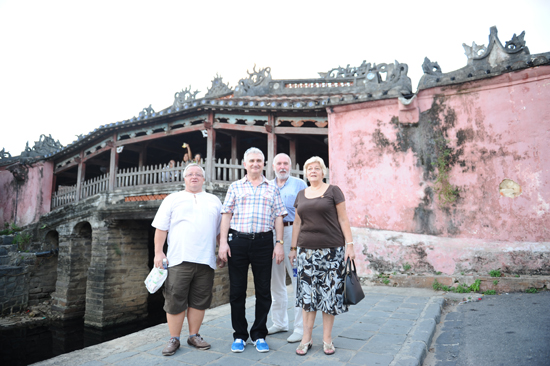 Members of the Czech delegation in the Japanese Bridge- a symbol of Hoi An world cultural heritage.