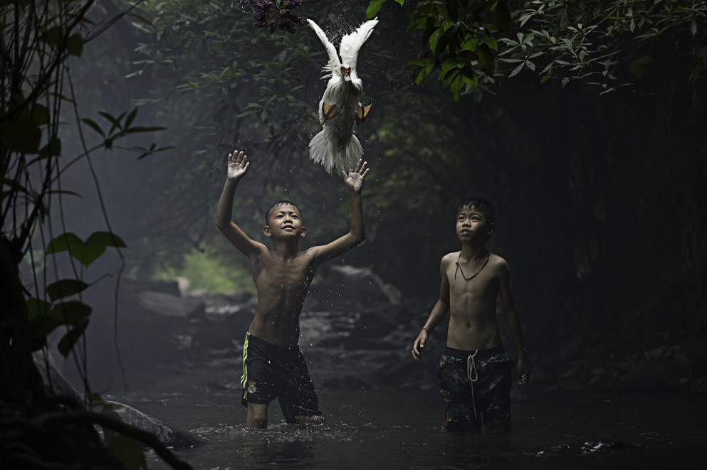 Two boys are trying to catch a duck near a waterfall. © Sarah Wouters
