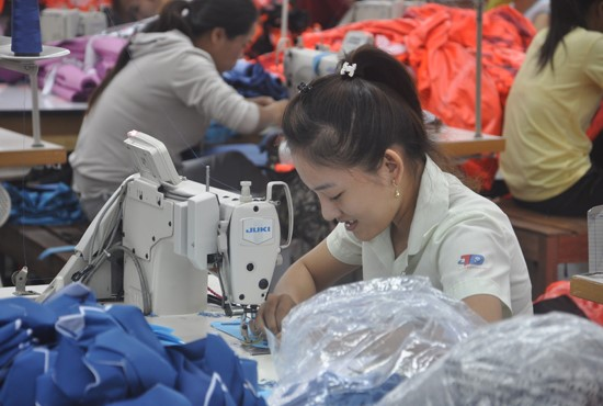 Workers in garment factory in Tam Ky city.