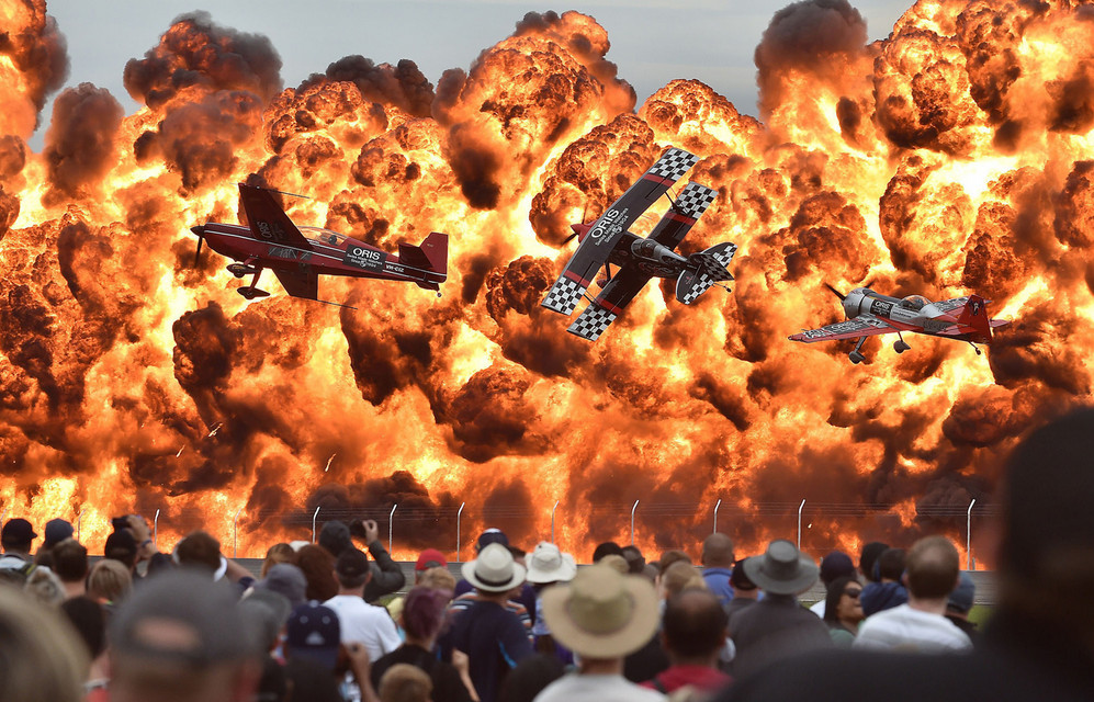 Acrobatic pilots perform on the first public day of the Australian International Airshow at the Avalon Airfield, near Lara southwest of Melbourne on February 27 2015. # Paul Crock / AFP / Getty