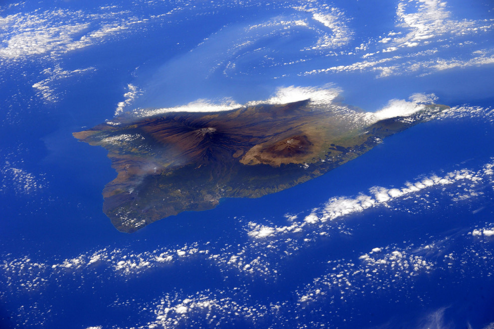 Hawaii's Big Island is seen in this image taken by European Space Agency astronaut Samantha Cristoforetti from the International Space Station, on February 28, 2015. # Samantha Cristoforetti / ESA / Reuters