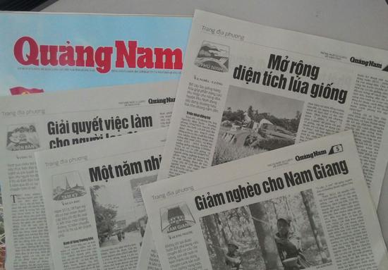 Một số trang địa phương trên báo Quảng Nam. Ảnh: C.NỮ