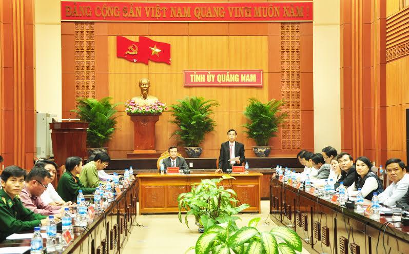 Quang cảnh hội nghị tại điểm cầu Quảng Nam.