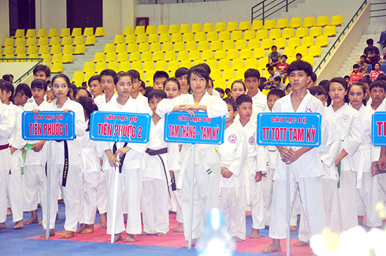 Giải Karatedo trẻ tỉnh lần đầu tiên do Hội Karatedo tỉnh Quảng Nam tổ chức góp phần phát triển phong trào.Ảnh: A.SẮC