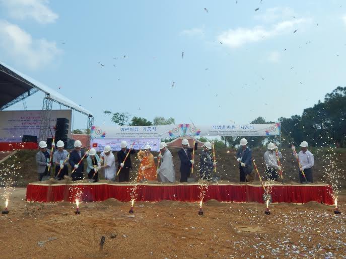 The groundbreaking ceremony in the Lotus village