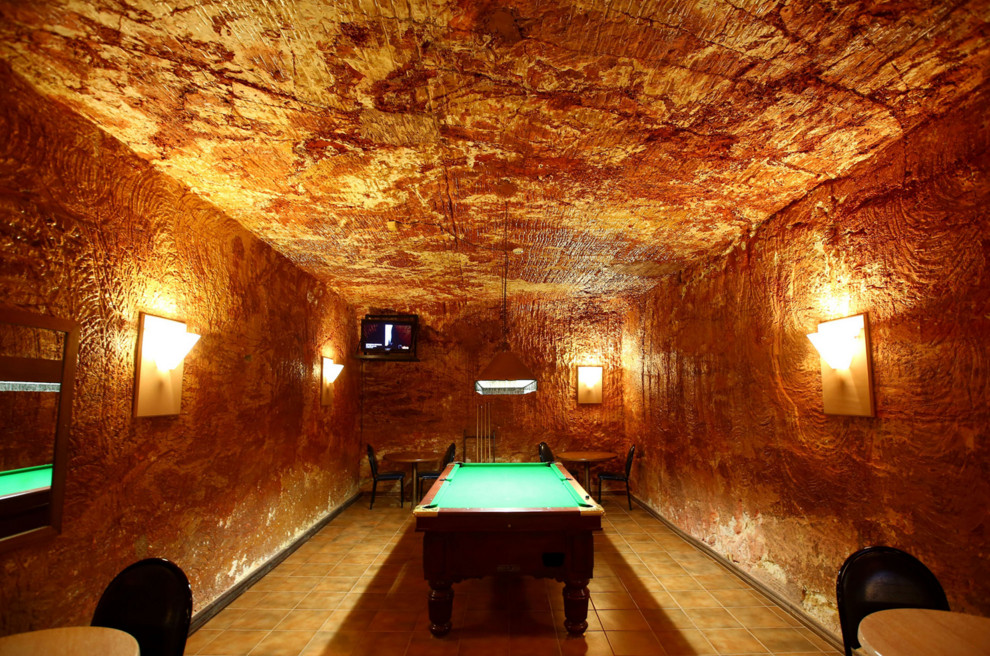 The pool room in an underground bar in the Desert Cave Hotel in Coober Pedy, Australia, on October 22, 2015. #  Mark Kolbe / Getty