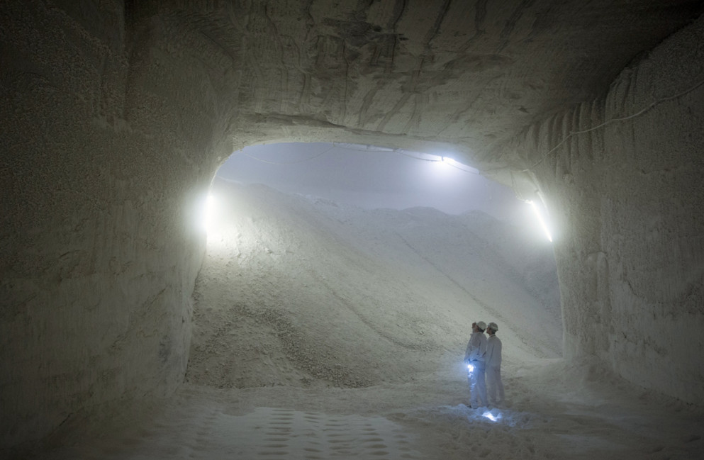 The salt storeroom at the K+S mine in Philippsthal (Werra), Germany, on August 29, 2015. #  Thomas Lohnes / AFP / Getty