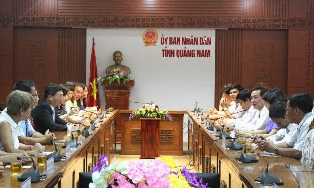 The working meeting between Taiwanese delegation and Quang Nam's leaders.