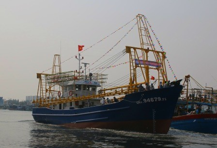 Quang Nam's first offshore steel-clad fishing boat.