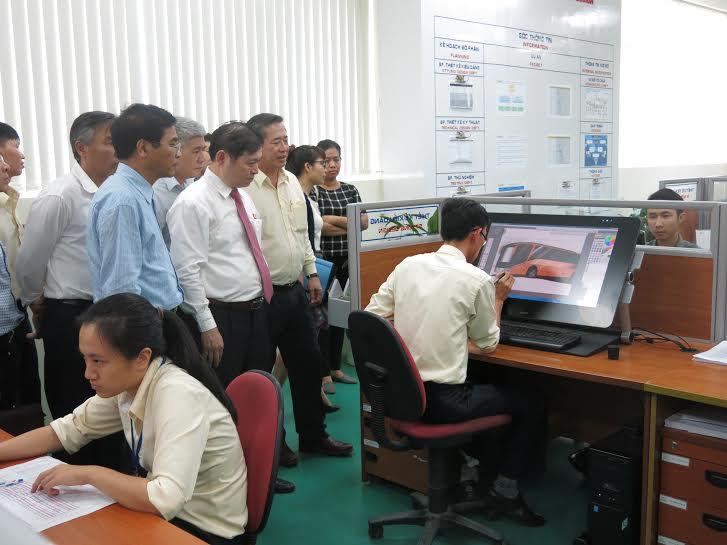 Đoàn công tác khảo sát thực tế tại Khu phức hợp sản xuất và lắp ráp ô tô Chu Lai – Trường Hải.