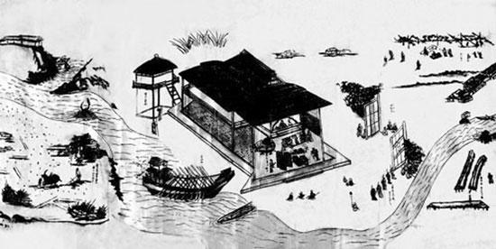 Cảnh giao thương tại dinh trấn Thanh Chiêm hồi thế kỷ 17 được mô tả trong bức Giao chỉ quốc mậu dịch hải đồ.Ảnh: Tư liệu