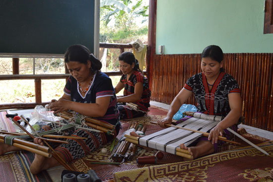 The traditional brocade weaving has been restored, improving women's income in Dhroong village.