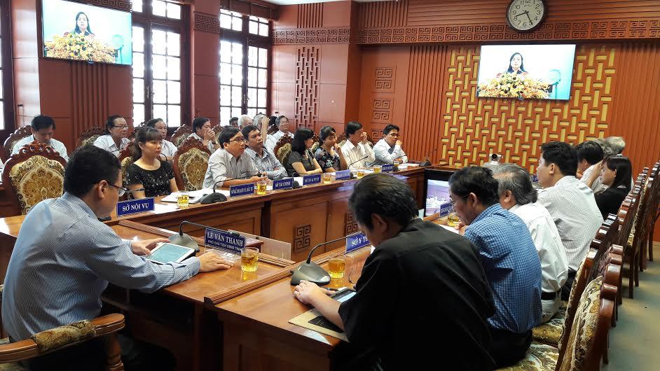 Quang cảnh hội nghị tại điểm cầu Quảng Nam