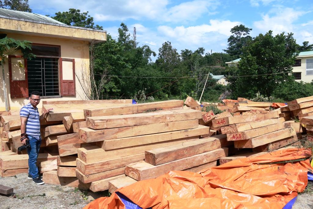 Số gỗ tang vật được thu giữ trước đó tại Trạm kiểm lâm khu vực Chà Vàl.