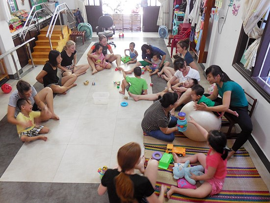 Disabled children at the CHIA office in Hoi An city