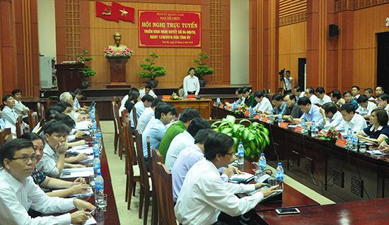 Hội nghị trực tuyến quán triệt, triển khai Nghị quyết 04 (khóa XXI) của Tỉnh ủy về công tác cán bộ. Ảnh: H.GIANG