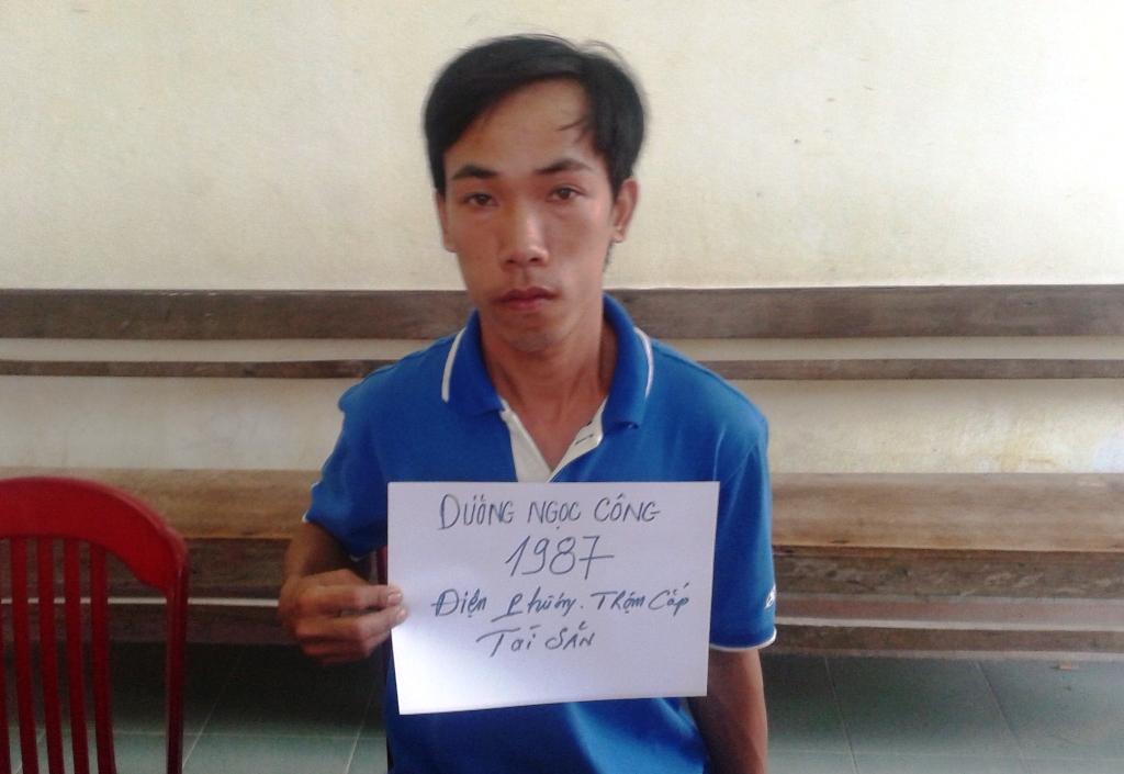 Đối tượng Dương Ngọc Công - người thực hiện 3 vụ trộm ở chợ tại cơ quan điều tra