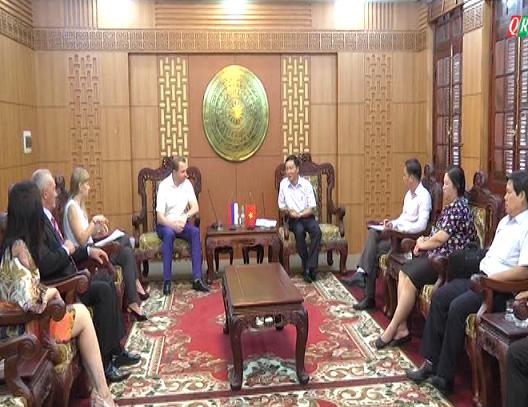 The meeting between representatives of Quang Nam province and Kurgan State University. Picture: QRT