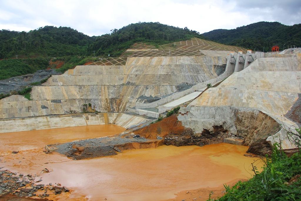 Vị trí nơi xảy ra sự cố khiến hai công nhân công trình thủy điện Sông Bung 4 bị mất tích.Ảnh: T.C