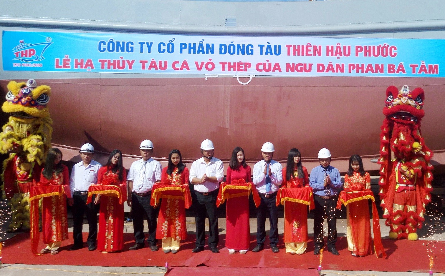 Launching ceremony of steel-clad boat QNa-91697 TS (Photo: Anh Quan)