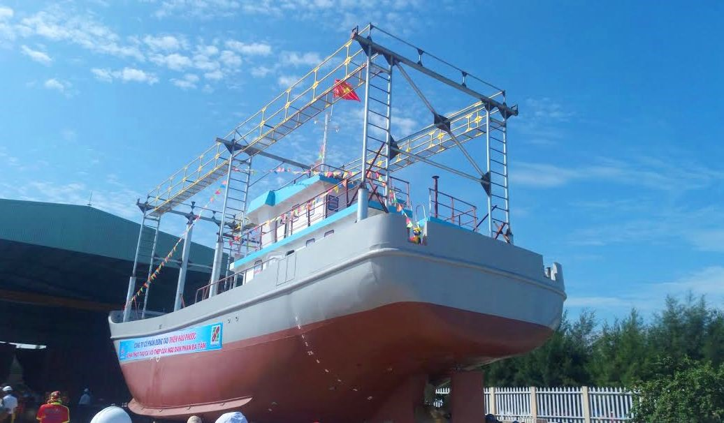 Steel-clad boat QNa-91697 TS (Photo: Anh Quan)
