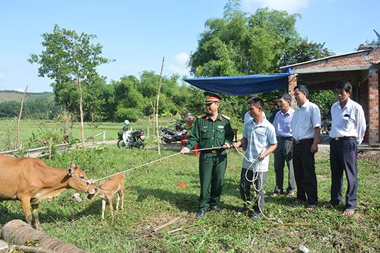 Trung đoàn 885 trao tặng bò cho gia đình anh Lê Quang Lâm.