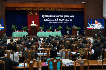 Overview of the 3rd session of the Quang Nam provincial People's Council.