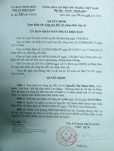 Quyết định tạm đình chỉ công tác đối với bà Nguyễn Thị Minh Hiền của Chủ tịch UBND thị xã Điện Bàn.
