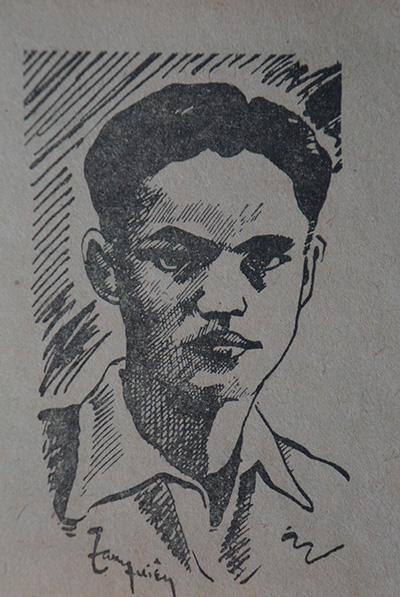 Chân dung nhà thơ Nguyễn Nhược Pháp do Tam Xuyên vẽ.