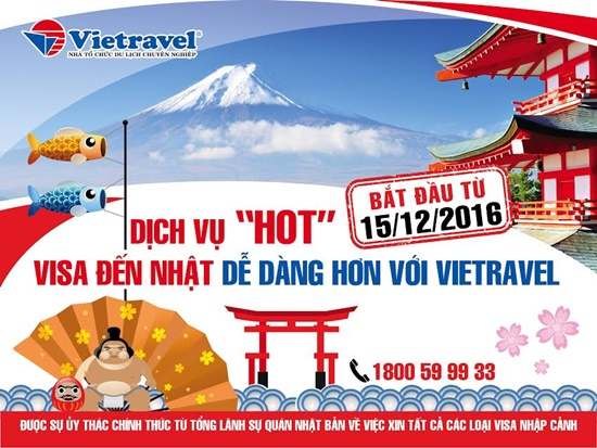 Vietravel sẽ giúp khách làm thủ tục visa đến Nhật dễ dàng hơn nhờ sự ủy quyền của Lãnh sự quán Nhật Bản