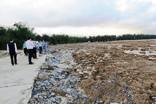 Đoàn công tác của Cục Trồng trọt (Bộ NN&PTNT) khảo sát tại vùng biến động đất Đại Cường. Ảnh: BÍCH LIÊN