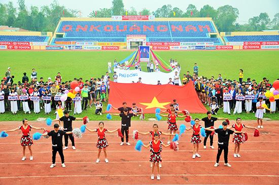 Hội khỏe Phù Đổng tỉnh được tổ chức chu đáo, tạo điều kiện để các em học sinh thi đấu đạt kết quả tốt tại Hội khỏe Phù Đổng toàn quốc. Ảnh: T.VY