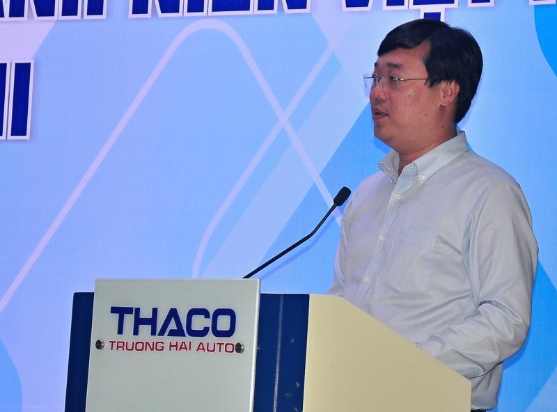 Bí thư thứ nhất Trung ương Đoàn TNCS Hồ Chí Minh, Chủ tịch Hội Sinh viên Việt Nam Lê Quốc Phong. Ảnh: VINH ANH