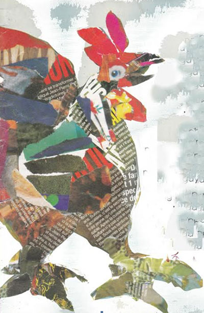 Gà trống - tranh dán giấy của Hoàng Đặng.
