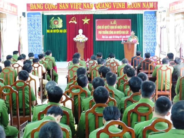 Đại tá Phạm Viết Lợi phát biểu tại buổi lễ. Ảnh: HOÀNG LIÊN