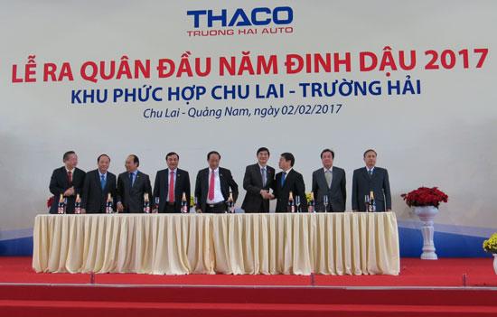 Lễ ra quân đầu năm của Thaco tại Khu phức hợp Chu Lai - Trường Hải sáng ngày 2.2.2017. Ảnh: T.DŨNG